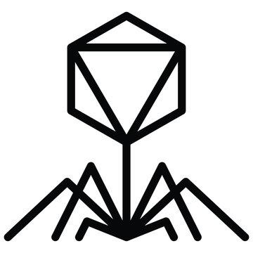 Bacteriophage virus vector illustration, line style icon
