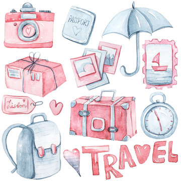 Hand painted watercolor travel clipart- camera, umbrella, bag, pictures, passport, clock isolated on white. Lovely illustration for pattern, baby shower, invitation, greeting card