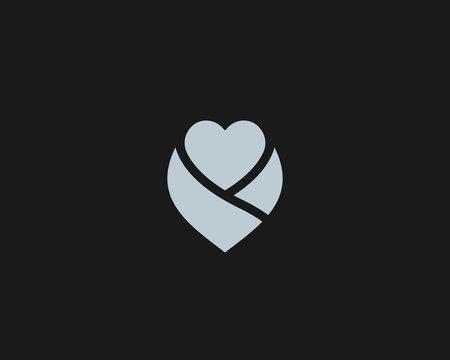 Abstract heart flower logo icon design modern minimal style illustration. Gift care baby vector emblem sign symbol mark logotype
