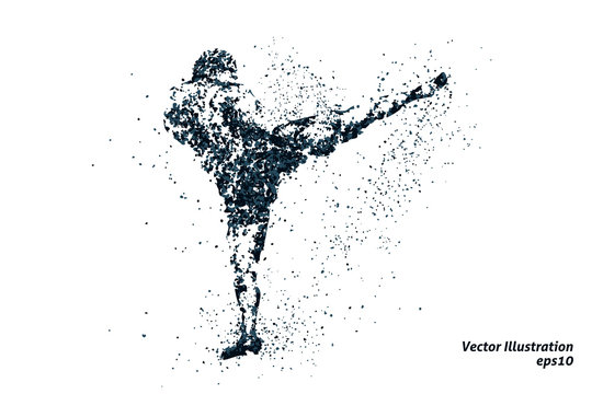silhouette of a kickboxing from particles 1, bicolor vector illustration.