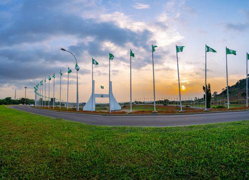 Abuja City Gate at sunset