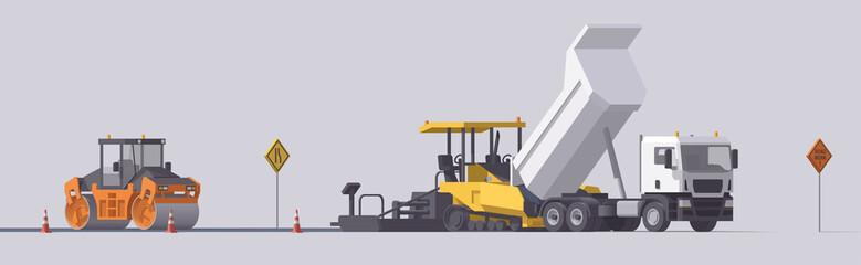 Vector road paving set. Asphalt paver & road roller & dump truck. Isolated illustration. Road work