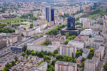 Aerial view in Warsaw, capital city of Poland with Atlas Tower and Warta Tower