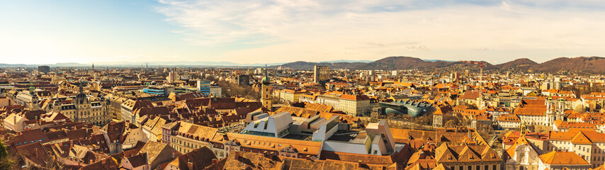 Panoramic view at Graz city with his famous buildings. Art museum, town hall.