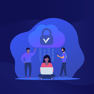 Secure cloud access and protected hosting vector illustration with people