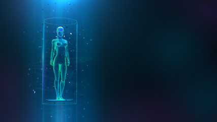 Clinical study, healthcare concept with 3D female body hologram and hud elements. Neural network artificial intelligence examination of human health and proper treatment in HUD style. Sci 3D x-ray. 3d