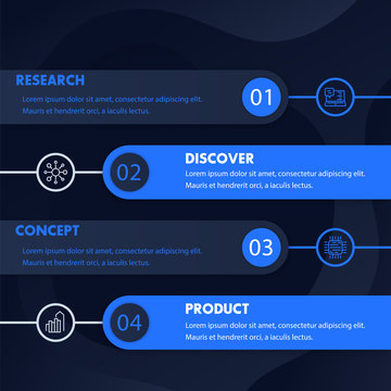 1, 2, 3, 4 steps, timeline, product development infographics design