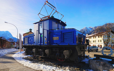 Discarded electric cog locomotive in Garmisch Partenkirchen Germany