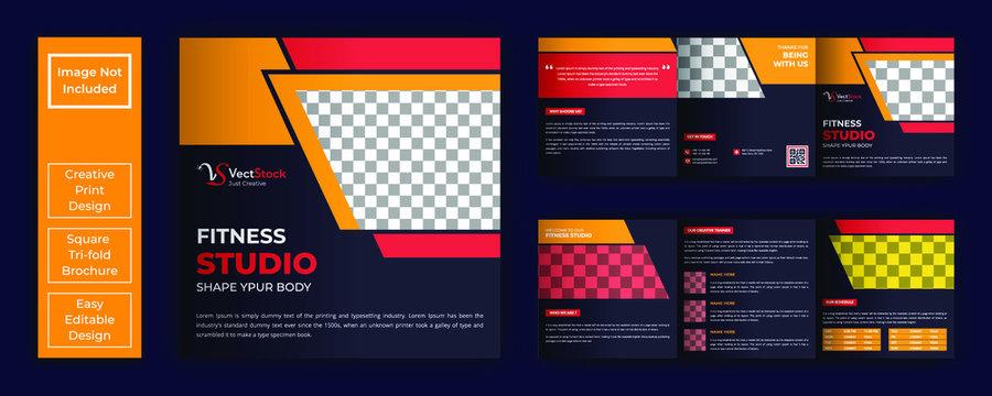 Square fitness tri-fold brochure template