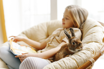 cute little girl study on the sofa in the company of rabbit