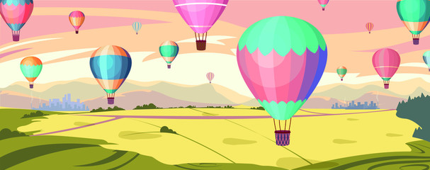 Colorful hot air balloons fly in orange sky over amazing valleys  Fototapete