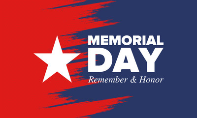 Memorial Day in United States. Remember and Honor. Federal holiday for remember and honor persons who have died while serving in the United States Armed Forces. Celebrated in May. Vector poster Fotomurales
