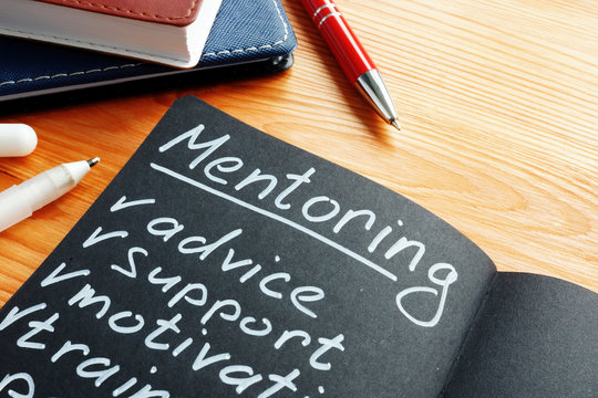Mentoring with mentor list advice, support and motivation in the notepad.
