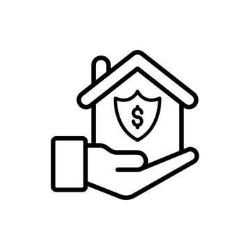 Mortgage Insurance icon Line Vector Illustration.