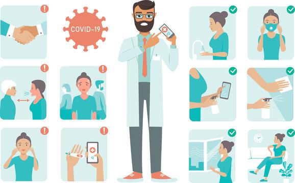 covid-19 virus protection tips. Doctor character pointing on phone screen. Coronovirus alert.