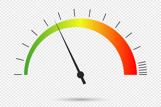 Speedometer icon at transparent background. Color infographics of car speedometer. Symbol of speed dial. Vector illustration.