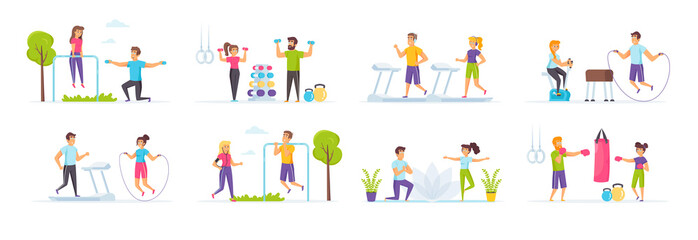 Fitness workout set with people characters in various scenes. Man and woman running on treadmill, jumping with rope, lifting dumbbells and boxing. Bundle of training or exercising in flat style.