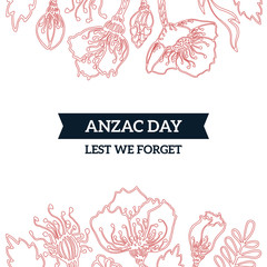 Anzac Day memorial card with red poppies. Remembrance anniversary