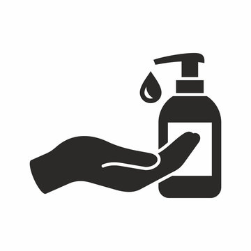 Liquid soap icon. Vector icon isolated on white background.