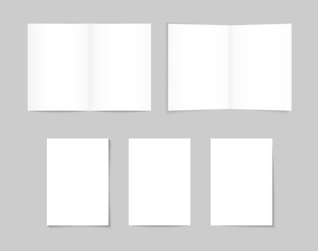 White Blank A4 / A5 Brochure. White paper, banner sheets with varied shadow. Brochure mockup