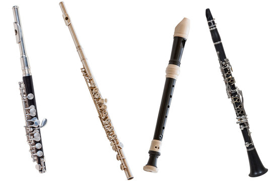classical wind musical instrument flute-Piccolo, set of four flutes isolated on a white background