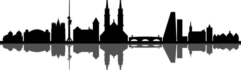 Fototapete - Basel City Switzerland Skyline Silhouette Cityscape Vector