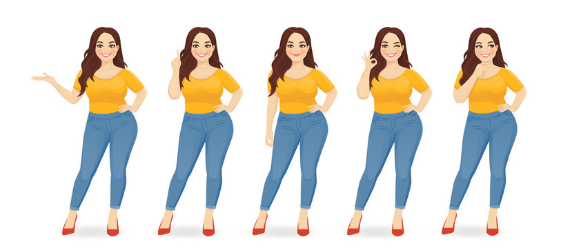 Young happy beautiful plus size woman wearing jeans in different poses isolated vector illustration