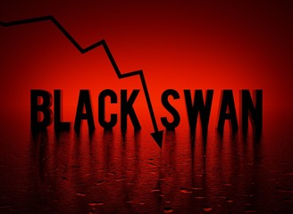 Black Swan Event text word and red crashing arrow, conceptual dark-red background 3D render