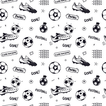 Seamless pattern with soccer ball, text and soccer sneakers. Sports background for the design of banners, flyers, print for a children's T-shirt.