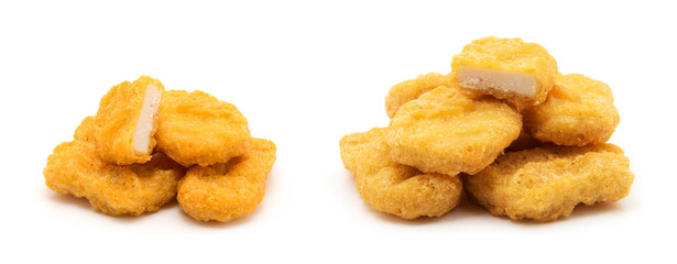 Fried chicken nuggets isolated on white Wall mural