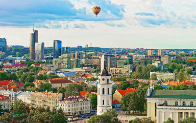 Garden Poster Eastern Europe Cathedral Square and Financial District and air balloon of Vilnius