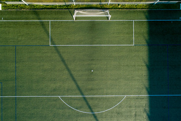 Aerial view of the area and the goal box of a soccer field