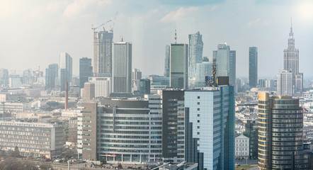 Warsaw landscape, beautiful city with office buildings in the background