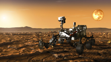 Foto auf AluDibond Nasa rover meets morning dawn on mars. Elements of this image furnished by NASA.