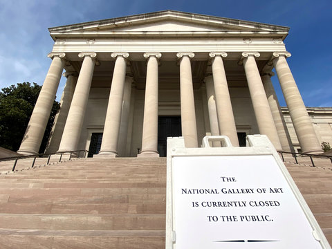 A sign indicates that the National Gallery of Art has been closed to the public due to the coronavirus threat in Washington