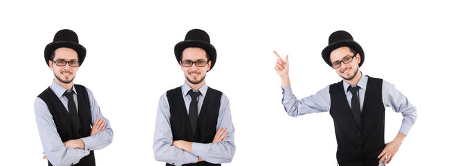 Wall Mural - Young man in hat isolated on white