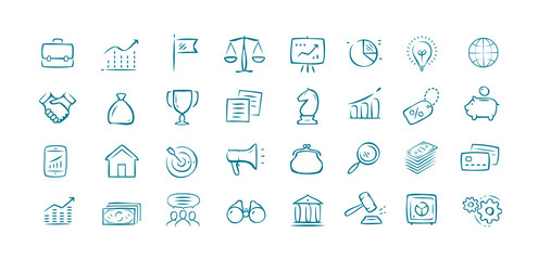 Business hand drawn icons set. Elements for website or mobile app
