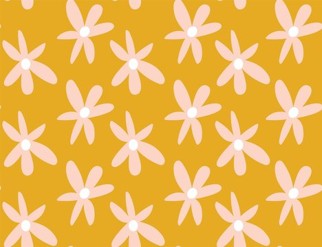 mustard and pastel pink 1970's groovy vintage retro floral daisies seamless vector pattern