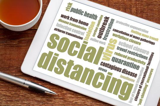social distancing word cloud on tablet
