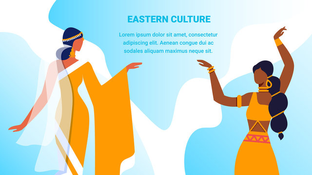 Eastern Culture Horizontal Banner. Couple of Young Girls in Beautiful Arabic and Indian Dresses and Jewelry Dancing with Hands Up. Artist Hobby, Performance, Show. Cartoon Flat Vector Illustration