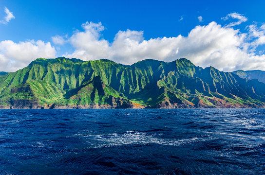 Amazing view of beautiful Napali coast in Kauai Hawaii USA