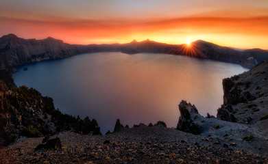Keuken foto achterwand Kust Crater Lake Sunset, Oregon