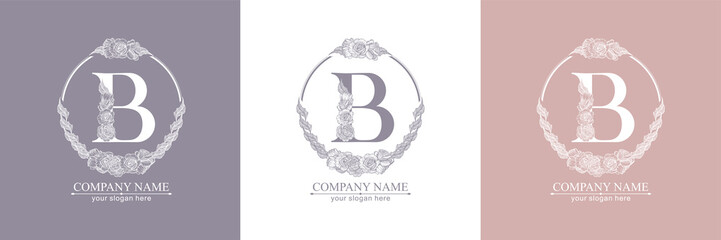 Letter B logo or monogram. For your business. Vector sign. Floral style, beautiful roses. Personal logo.