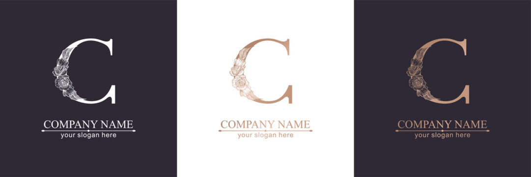 Letter C logo or monogram. For your business. Vector sign. Floral style, beautiful roses. Personal logo.