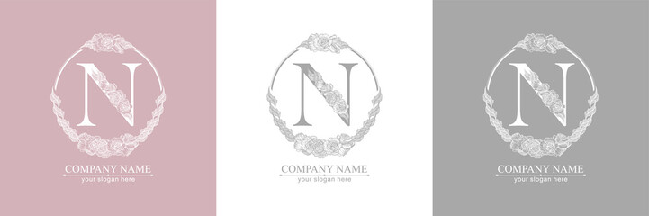 Letter N logo or monogram. For your business. Vector sign. Floral style, beautiful roses. Personal logo.