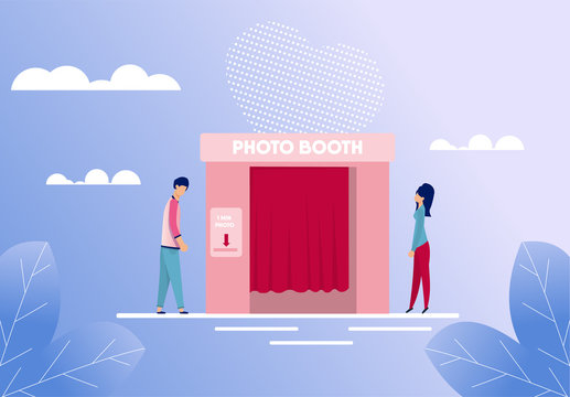 Man and Woman Standing near Photo Booth Cartoon. People Characters Going Take Picture for Good Memories. First Dating at Flat Photobooth. Romantic Gradient Backdrop. Vector Illustration