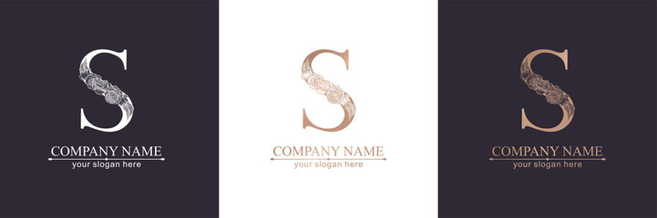 Letter S logo or monogram. For your business. Vector sign. Floral style, beautiful roses. Personal logo.