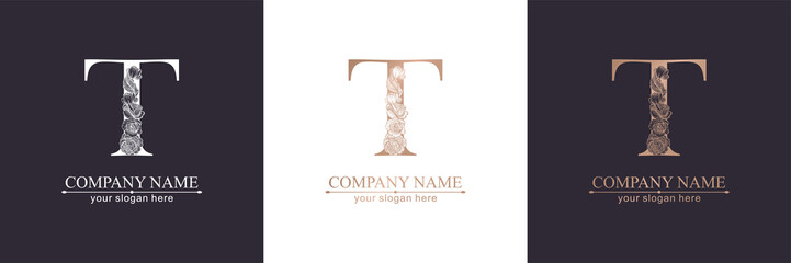 Letter T logo or monogram. For your business. Vector sign. Floral style, beautiful roses. Personal logo.