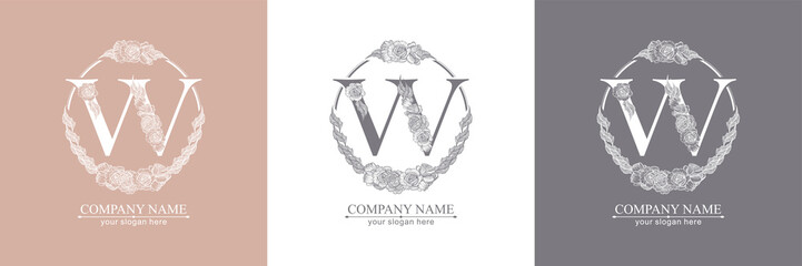 Letter W logo or monogram. For your business. Vector sign. Floral style, beautiful roses. Personal logo.