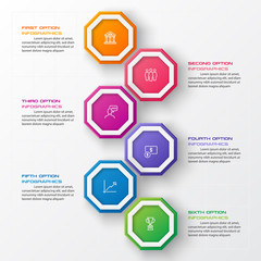 Octagon infographic fot business concept with 6 options,Abstract design element,Vector illustration.